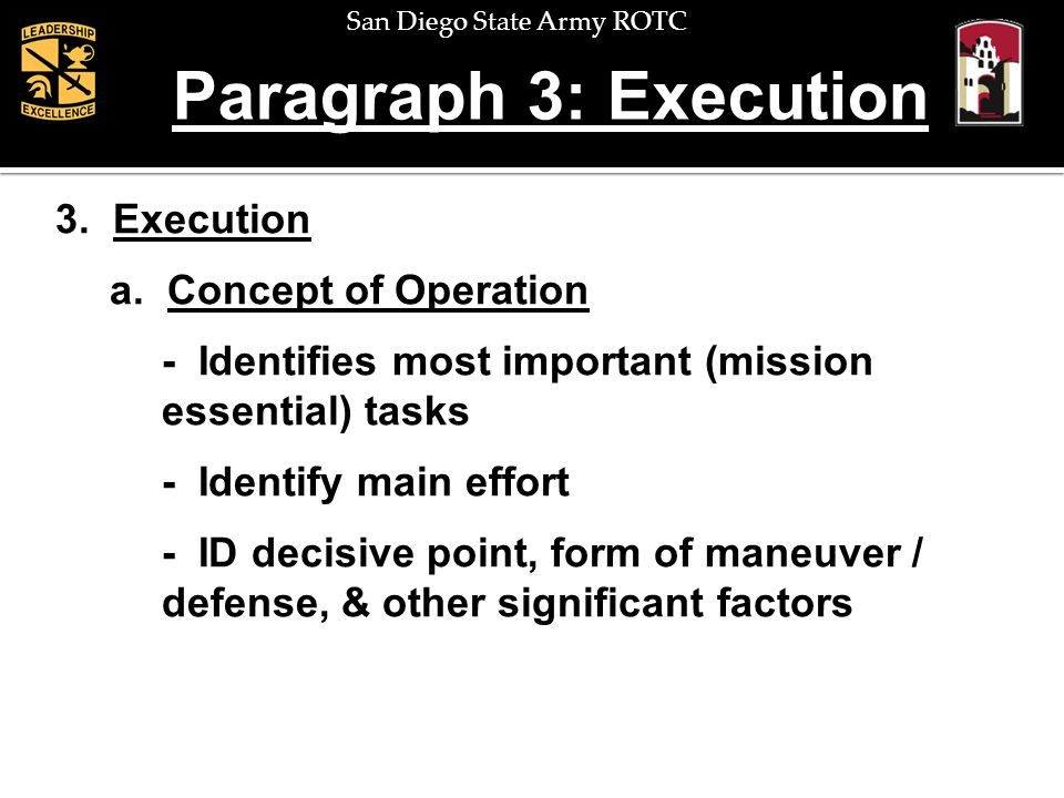Paragraph 3: Execution 3. Execution a. Concept of Operation