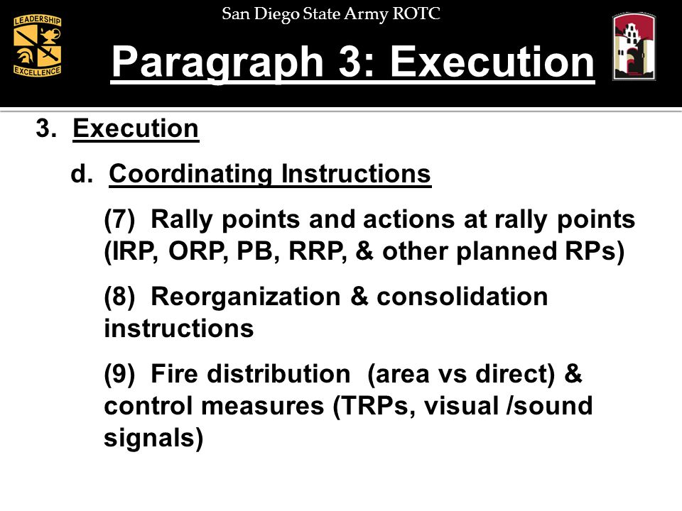 Paragraph 3: Execution 3. Execution d. Coordinating Instructions