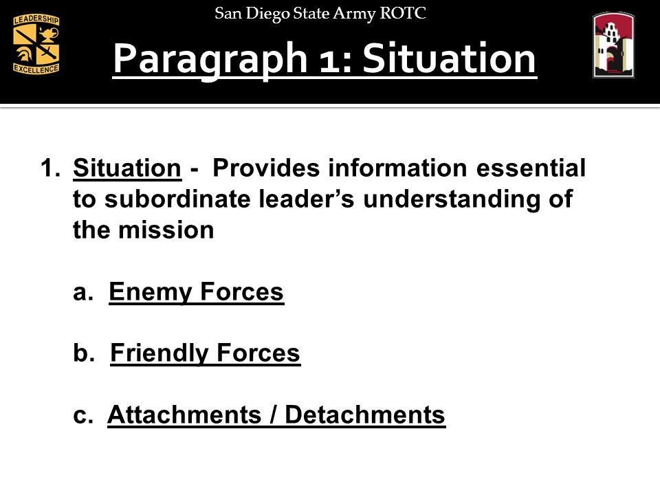 Paragraph 1: Situation Situation - Provides information essential to subordinate leader's understanding of the mission.