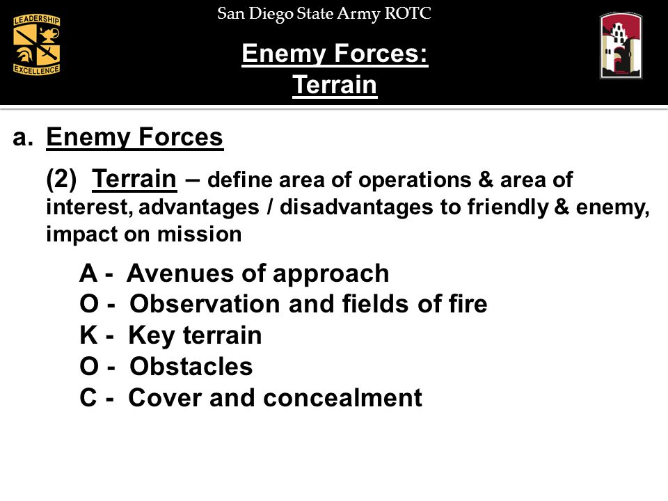Enemy Forces: Terrain. Enemy Forces.