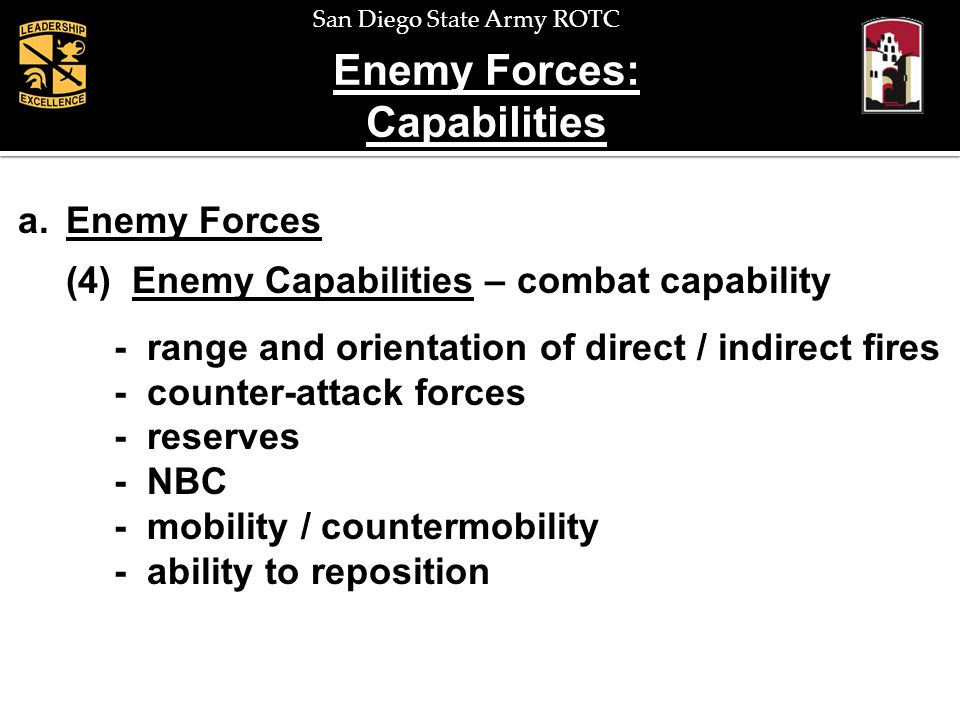Enemy Forces: Capabilities