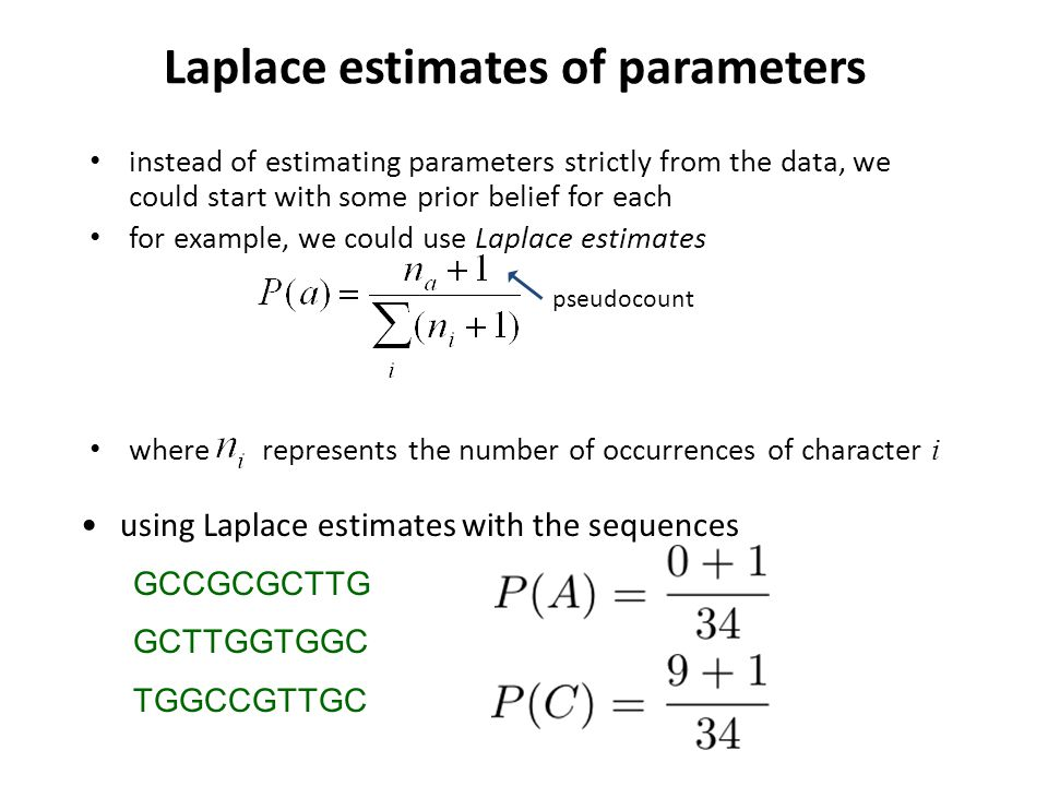 Laplace estimates of parameters