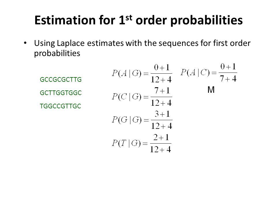 Estimation for 1st order probabilities