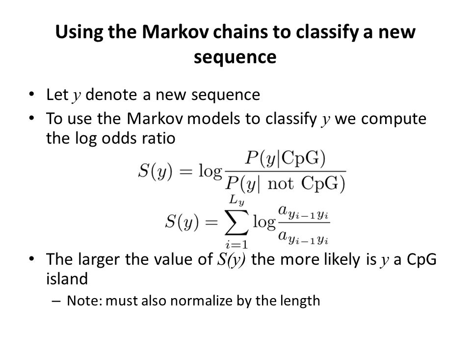 Using the Markov chains to classify a new sequence