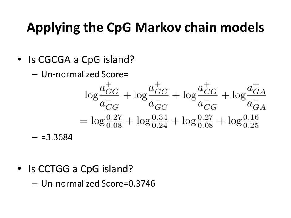Applying the CpG Markov chain models