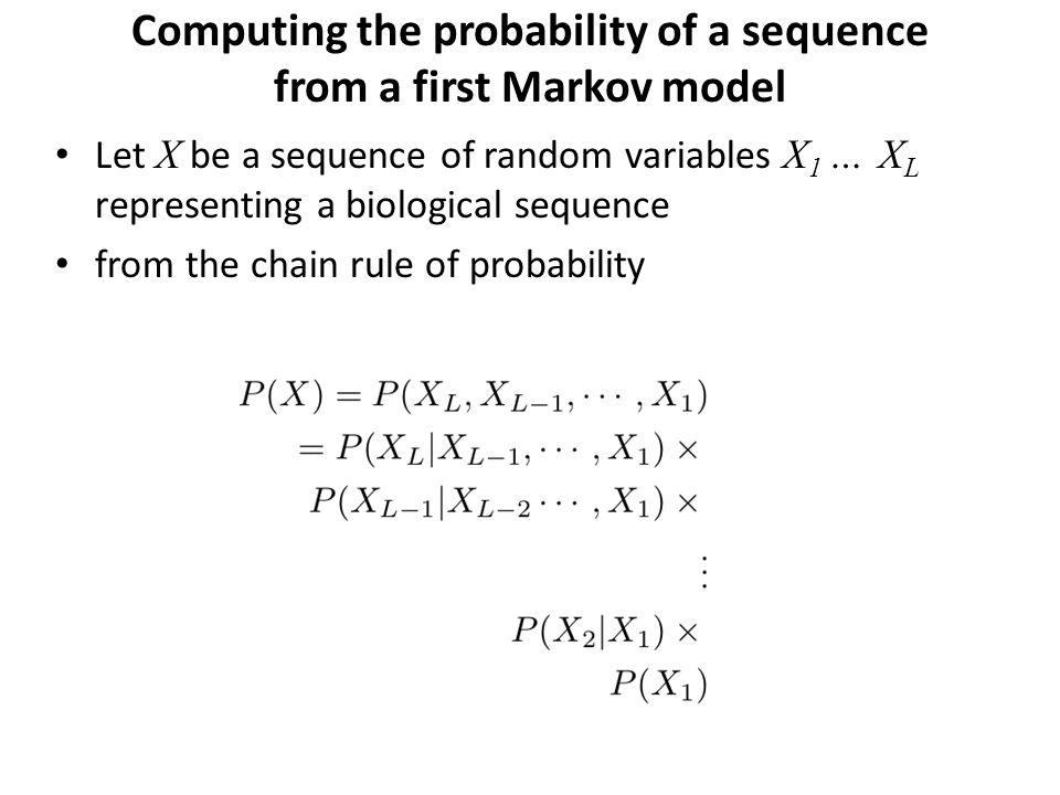 Computing the probability of a sequence from a first Markov model