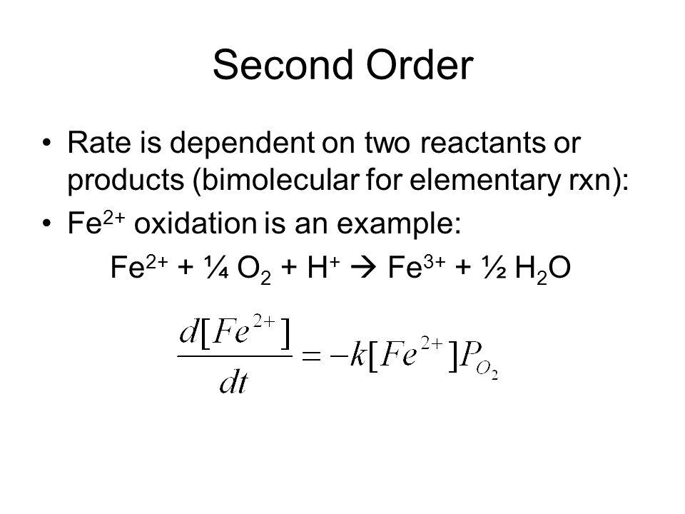 Second Order Rate is dependent on two reactants or products (bimolecular for elementary rxn): Fe2+ oxidation is an example: