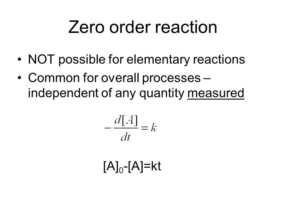 Zero order reaction NOT possible for elementary reactions