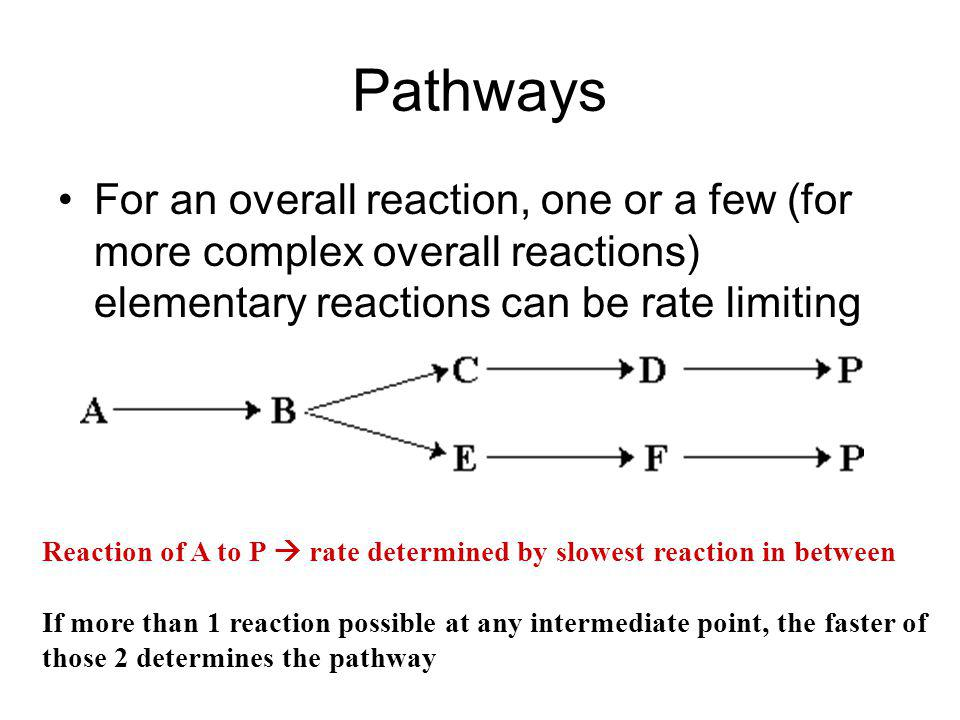 Pathways For an overall reaction, one or a few (for more complex overall reactions) elementary reactions can be rate limiting.