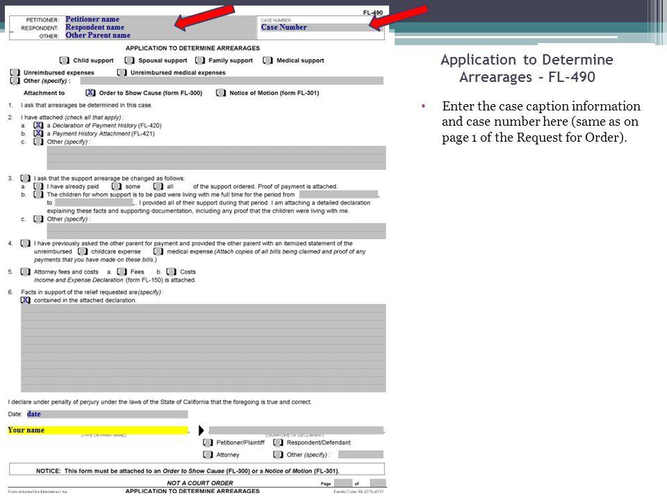 Application to Determine Arrearages – FL-490