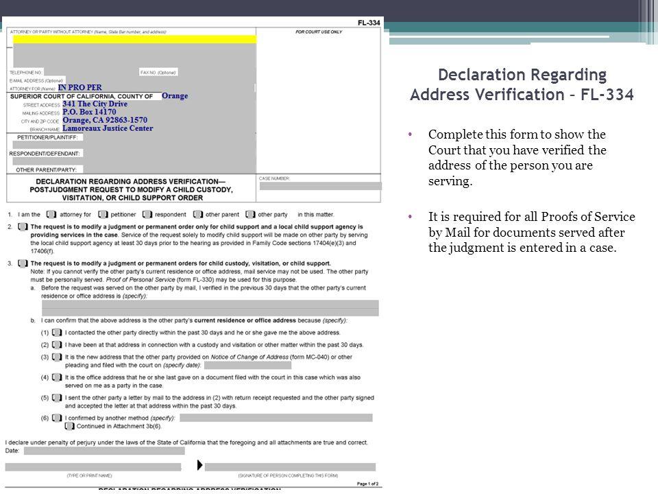 Declaration Regarding Address Verification – FL-334