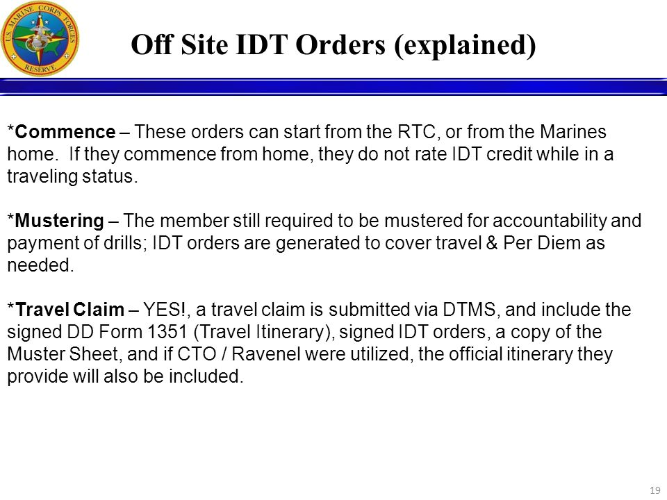 Off Site IDT Orders (explained)