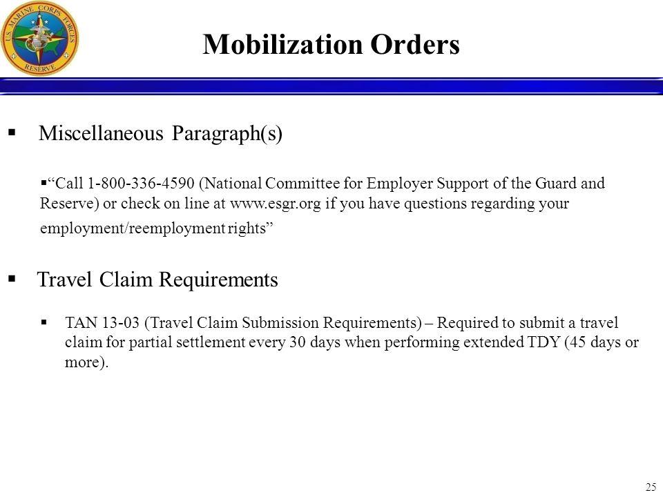 Mobilization Orders Miscellaneous Paragraph(s)