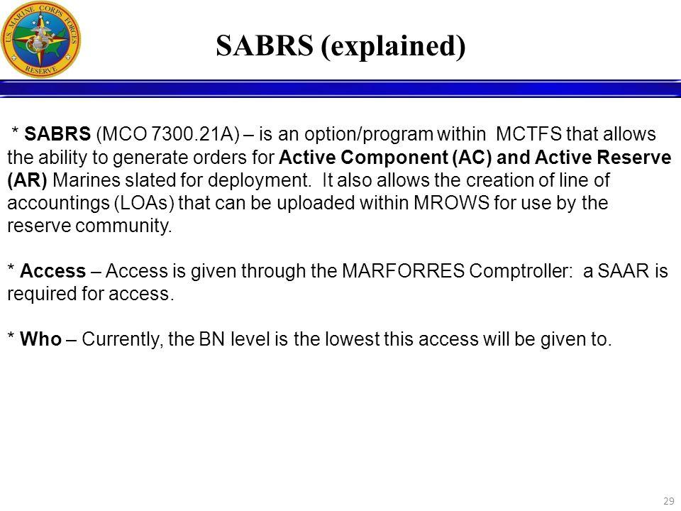 SABRS (explained)