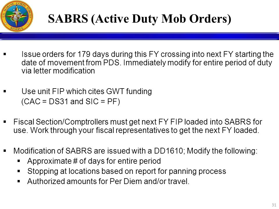 SABRS (Active Duty Mob Orders)