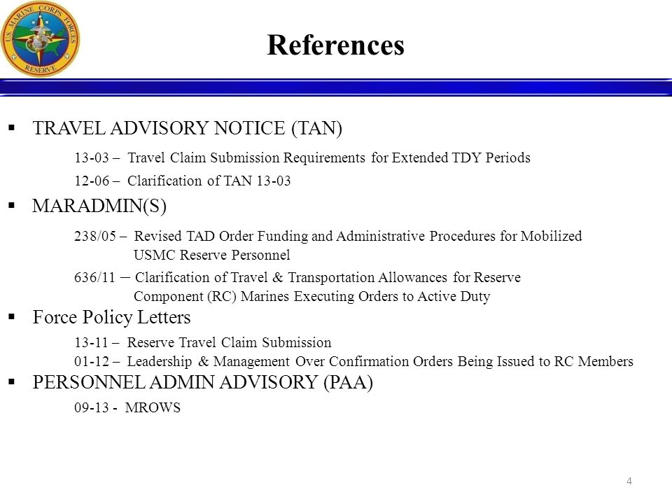 References TRAVEL ADVISORY NOTICE (TAN)