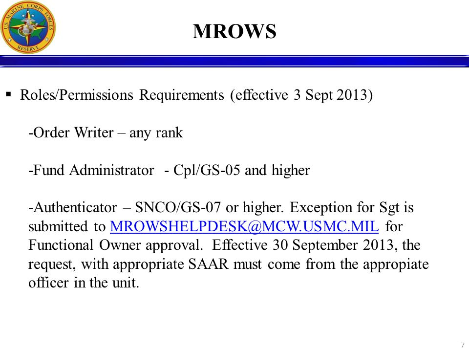 MROWS Roles/Permissions Requirements (effective 3 Sept 2013)
