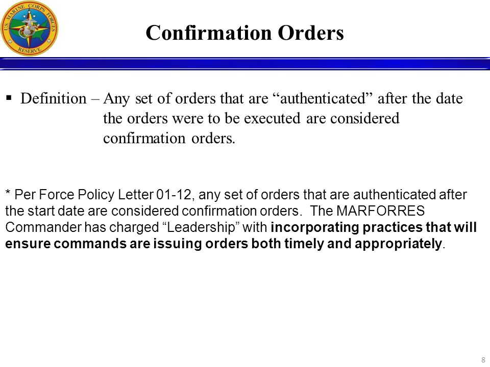 Confirmation Orders
