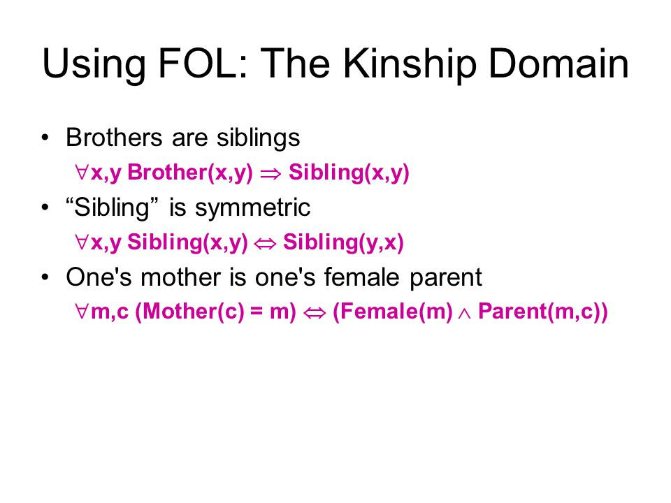 Using FOL: The Kinship Domain