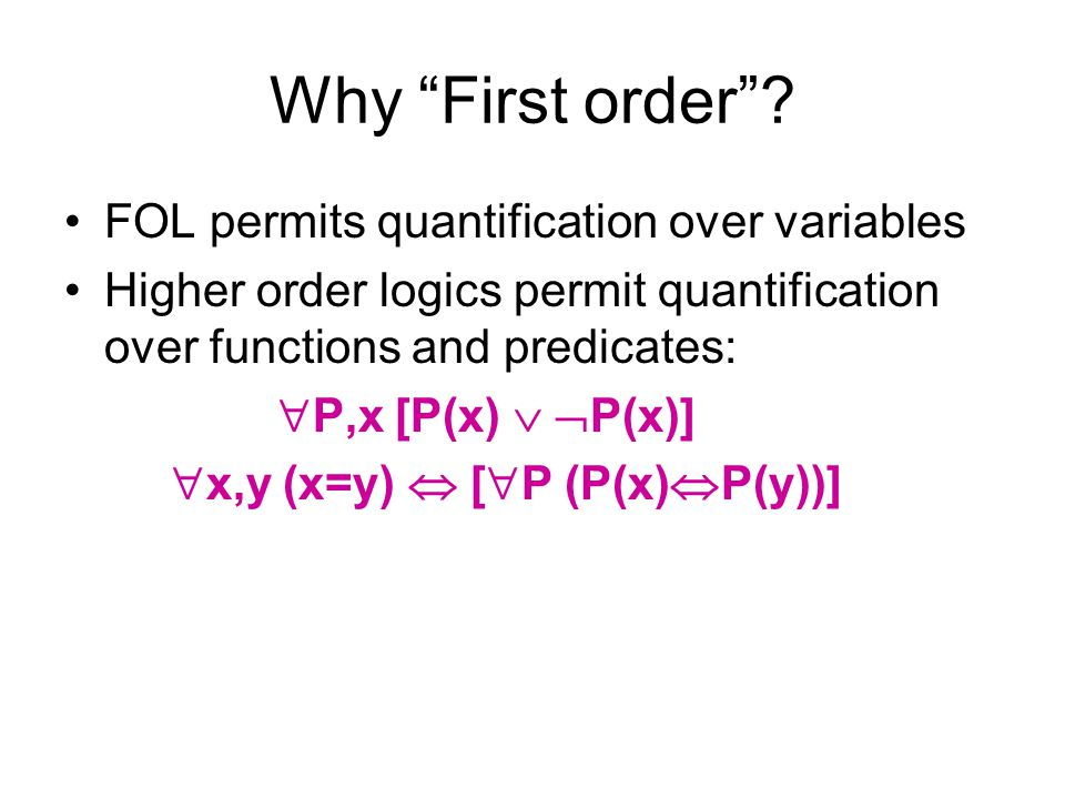 Why First order FOL permits quantification over variables