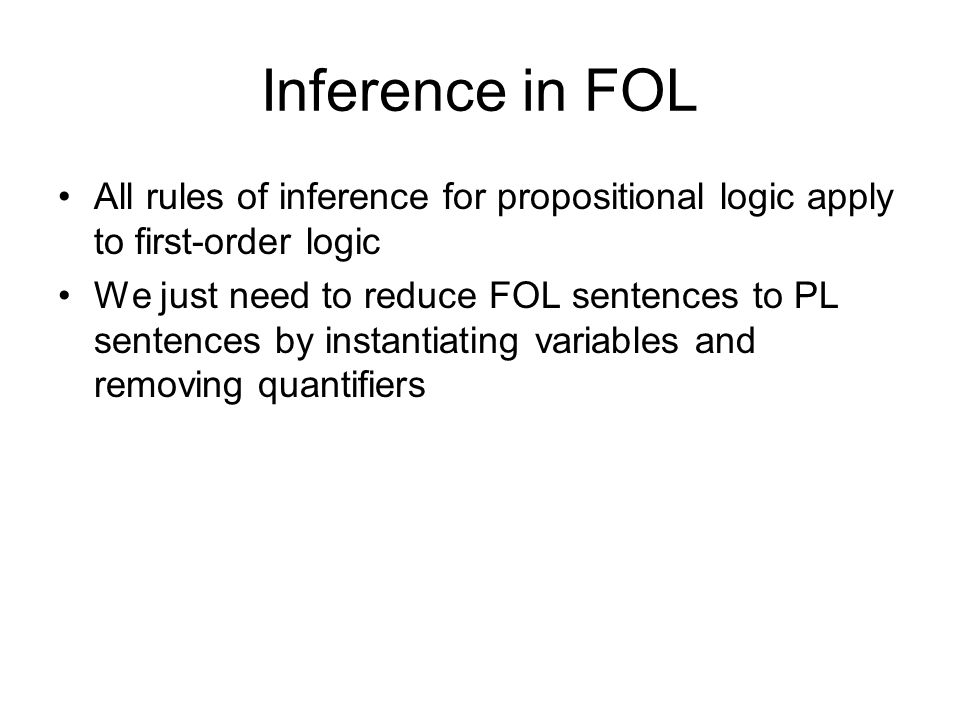 Inference in FOL All rules of inference for propositional logic apply to first-order logic.