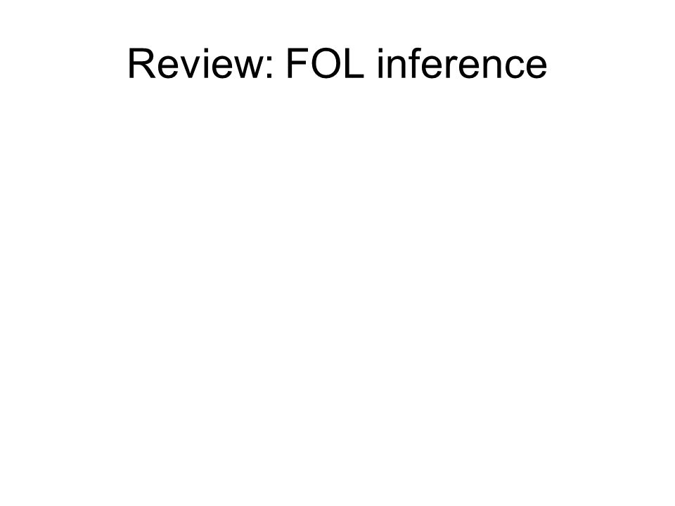 Review: FOL inference