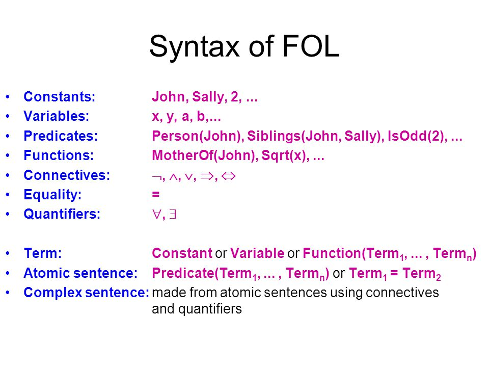 Syntax of FOL Constants: John, Sally, 2, ... Variables: x, y, a, b,...