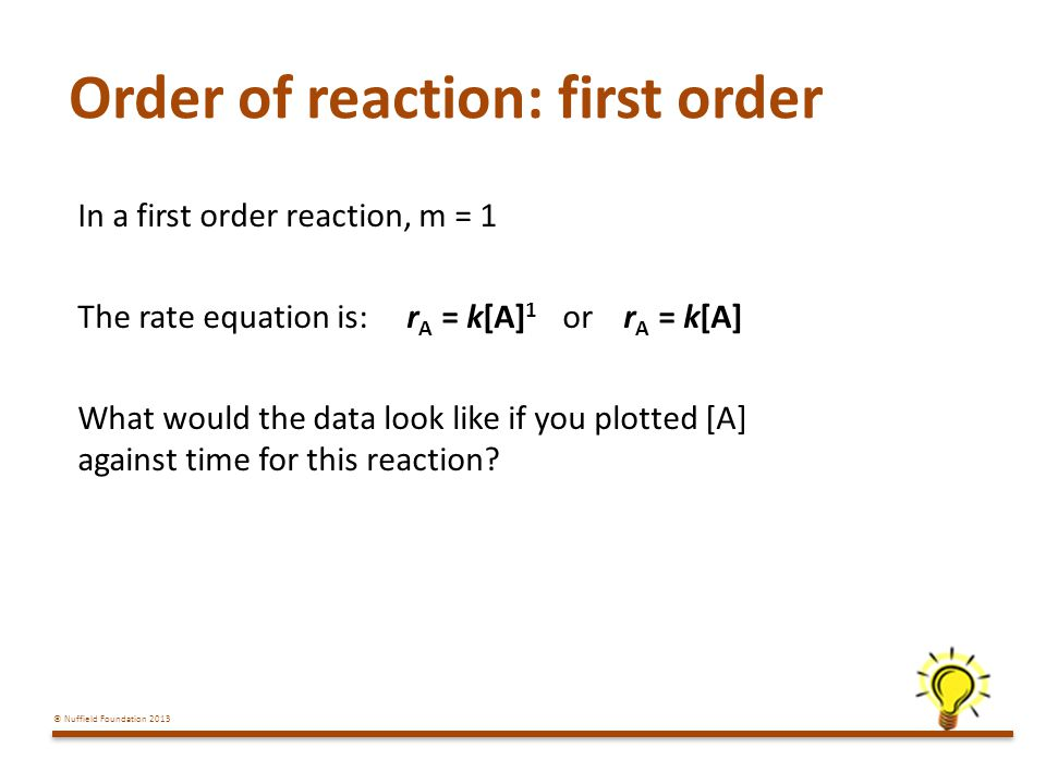 Order of reaction: first order