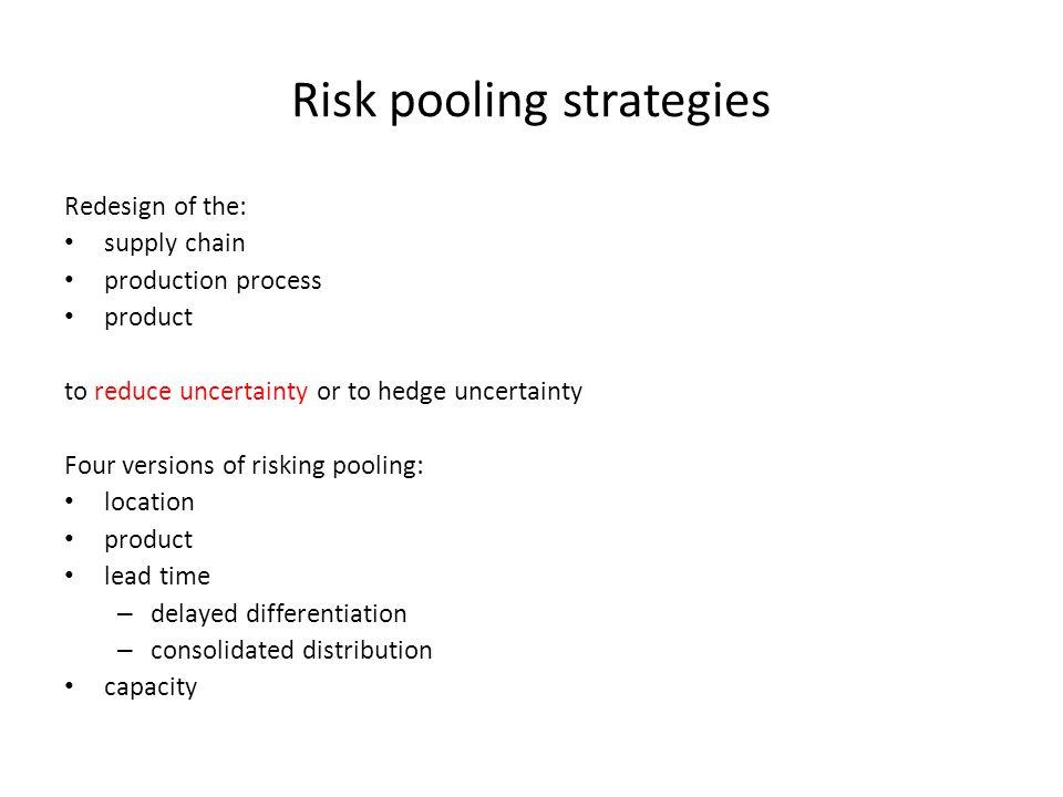 Risk pooling strategies