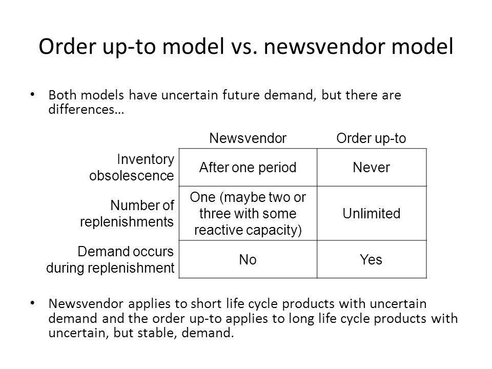 Order up-to model vs. newsvendor model
