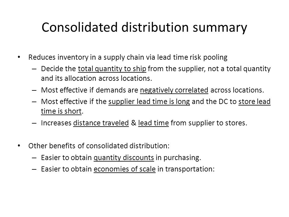Consolidated distribution summary