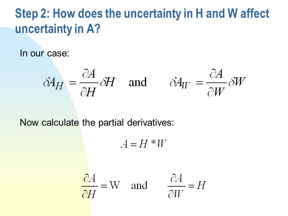 Step 2: How does the uncertainty in H and W affect uncertainty in A