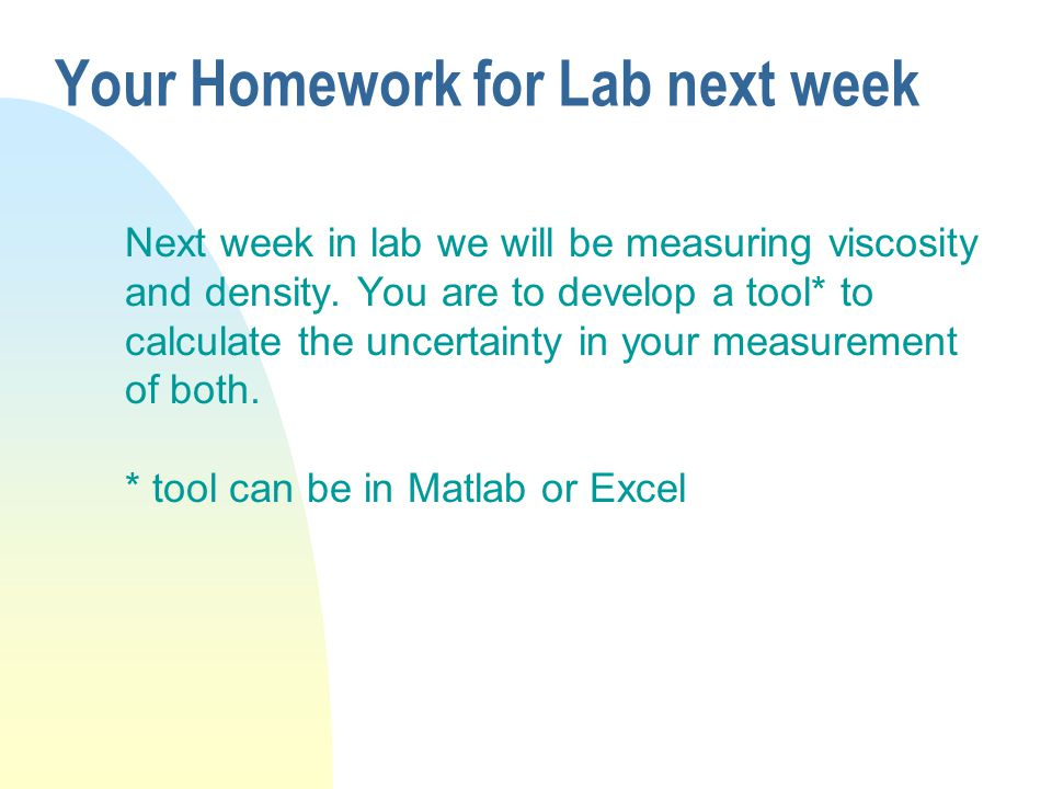 Your Homework for Lab next week