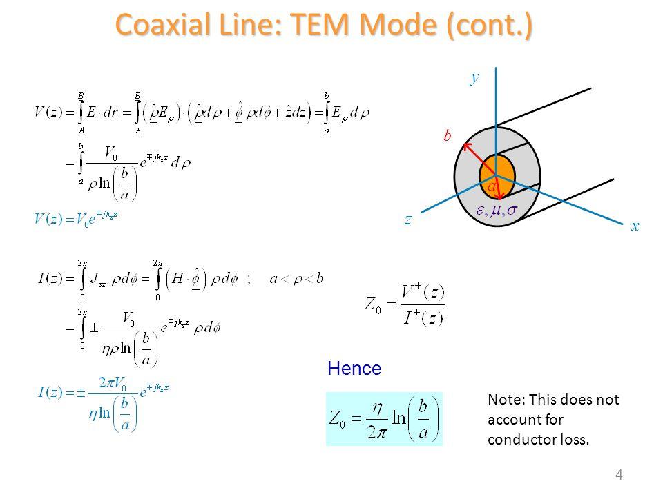 Coaxial Line: TEM Mode (cont.)