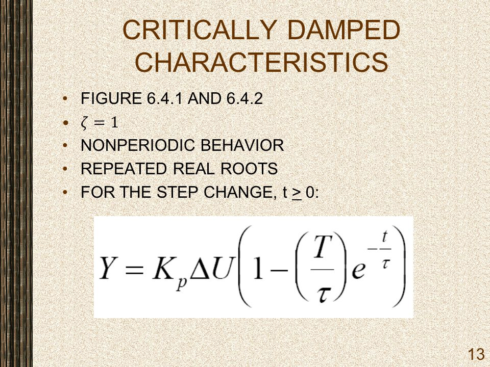 CRITICALLY DAMPED CHARACTERISTICS