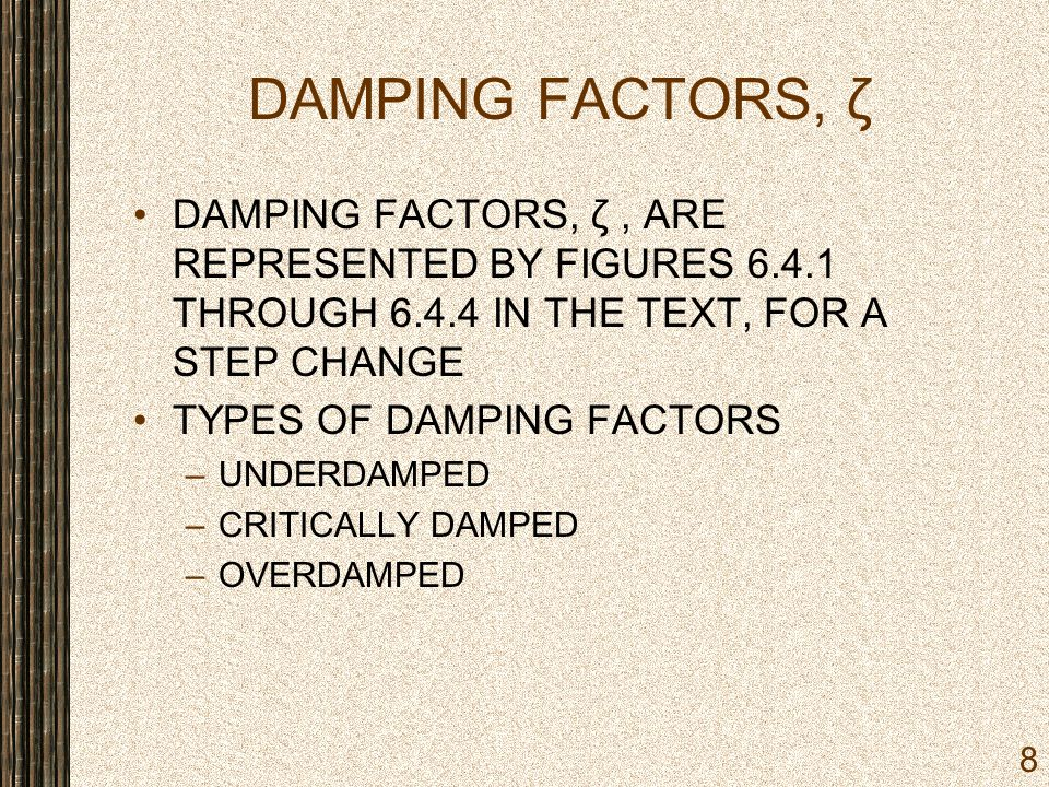DAMPING FACTORS, ζ DAMPING FACTORS, ζ , ARE REPRESENTED BY FIGURES 6.4.1 THROUGH 6.4.4 IN THE TEXT, FOR A STEP CHANGE.