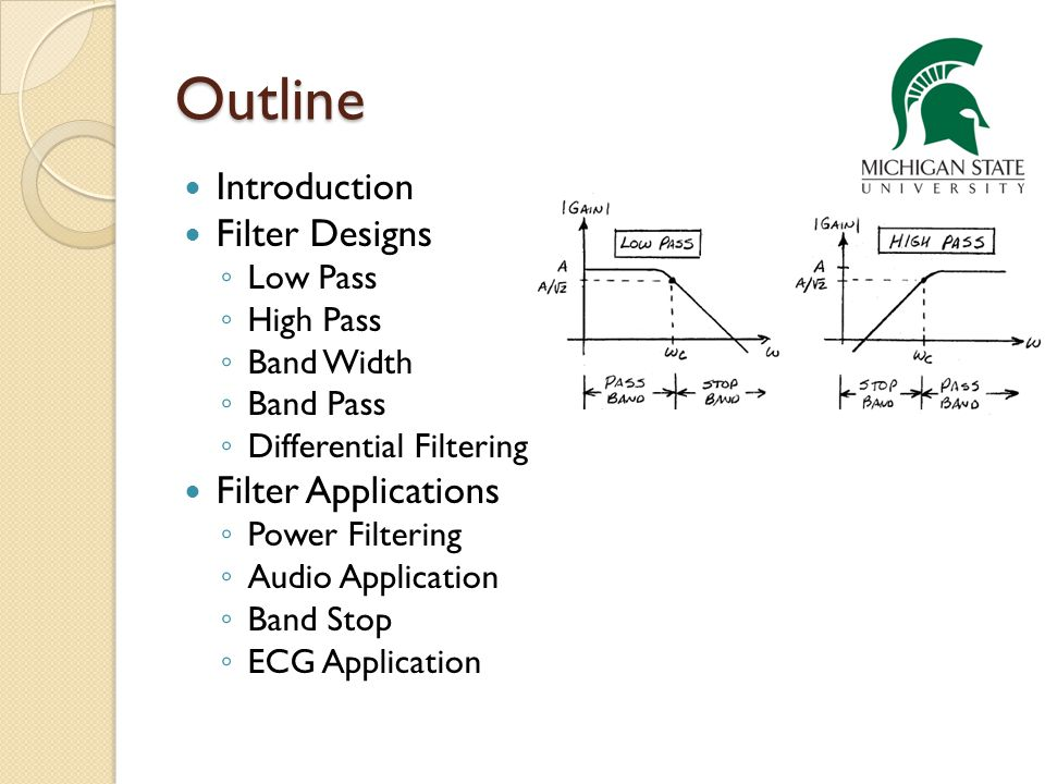 Outline Introduction Filter Designs Filter Applications Low Pass