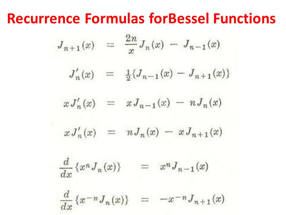 Recurrence Formulas forBessel Functions