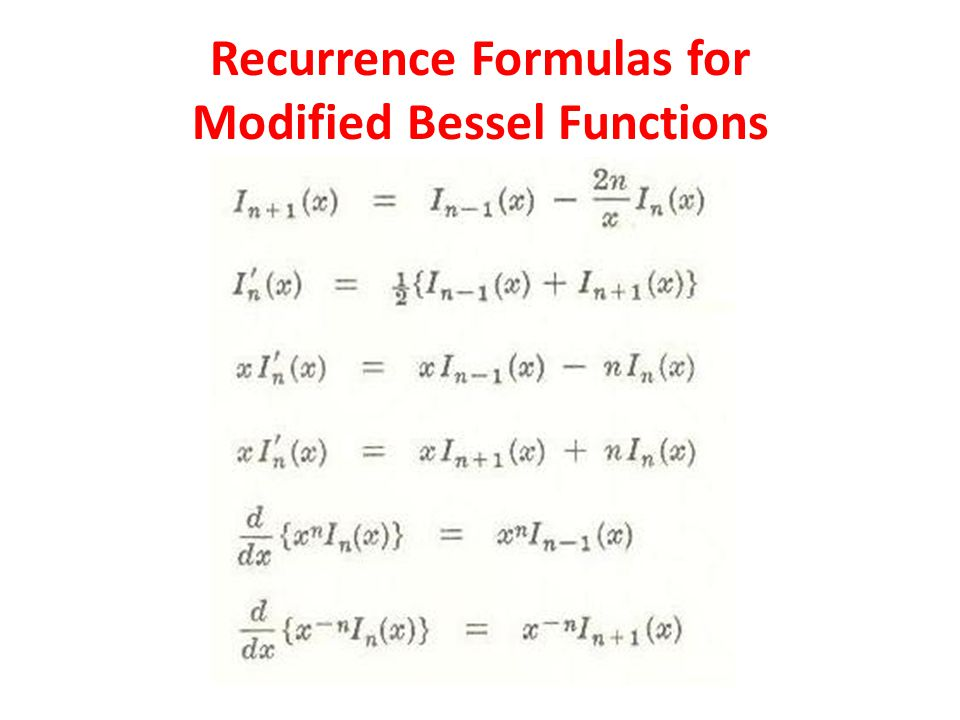 Recurrence Formulas for Modified Bessel Functions