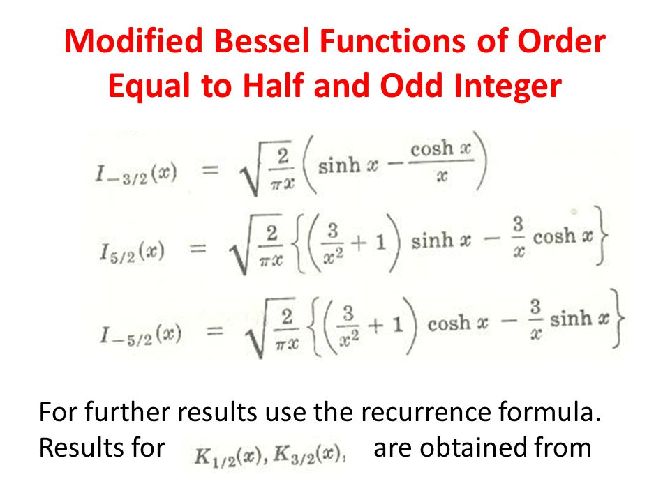 Modified Bessel Functions of Order Equal to Half and Odd Integer