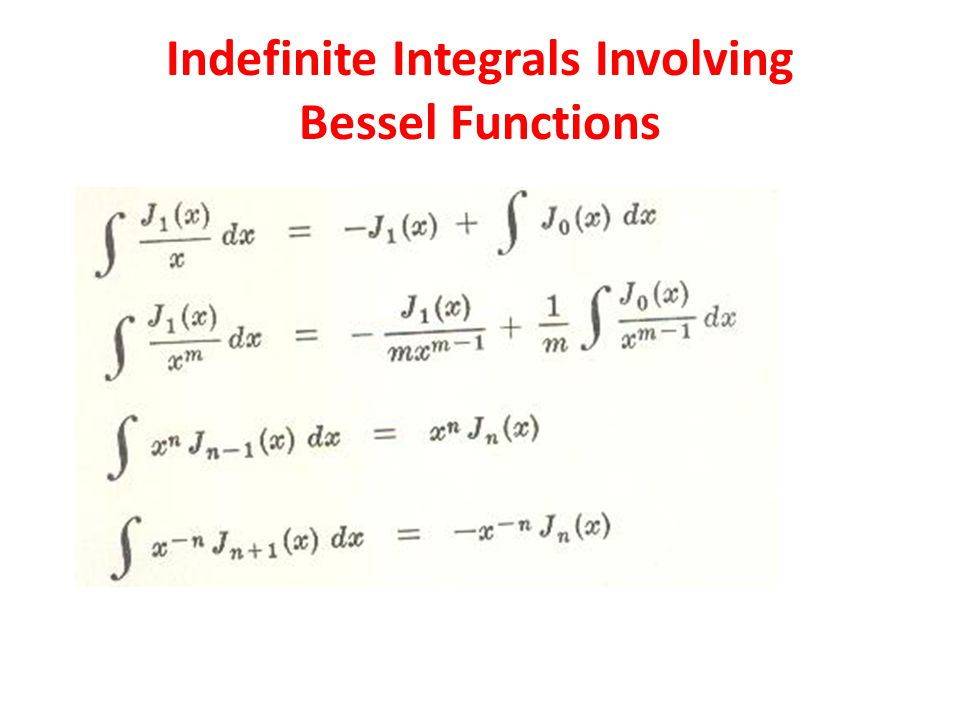 Indefinite Integrals Involving Bessel Functions