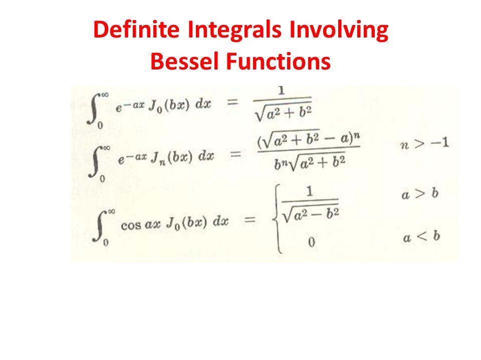 Definite Integrals Involving Bessel Functions