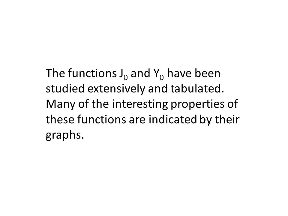 The functions J0 and Y0 have been studied extensively and tabulated