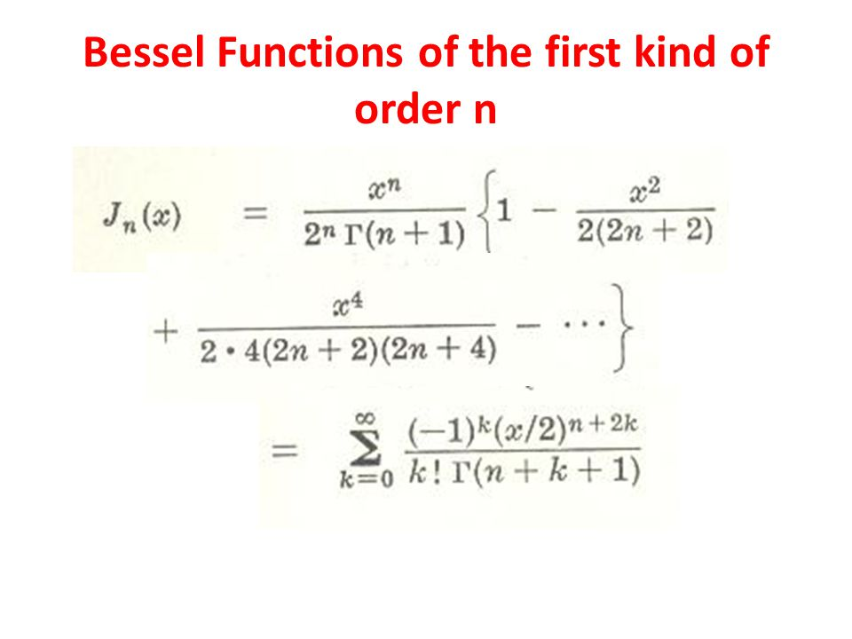 Bessel Functions of the first kind of order n