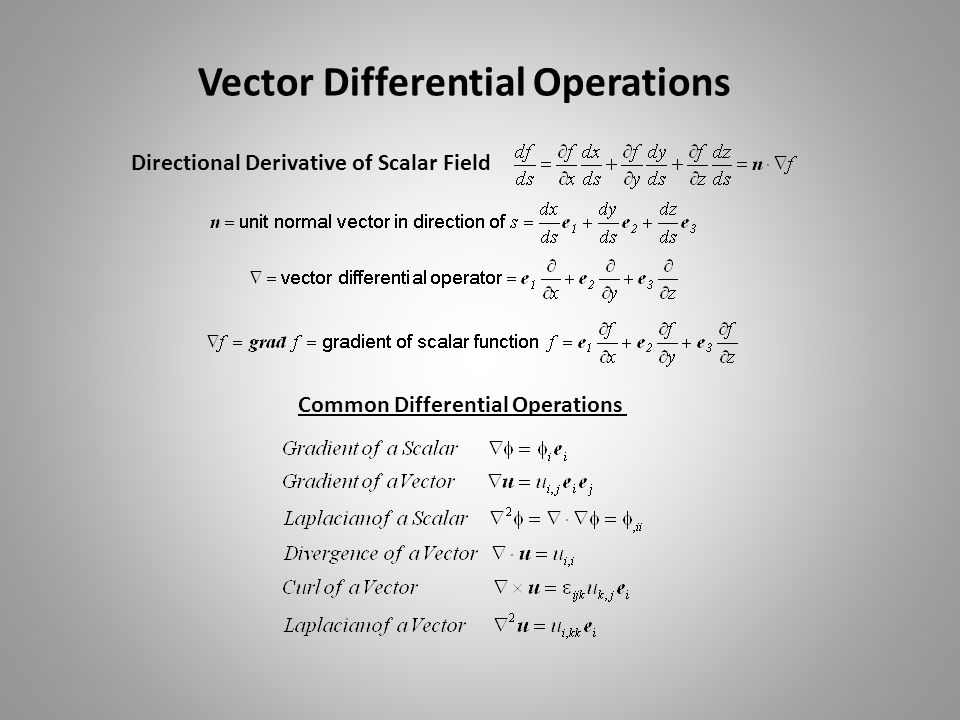 Vector Differential Operations