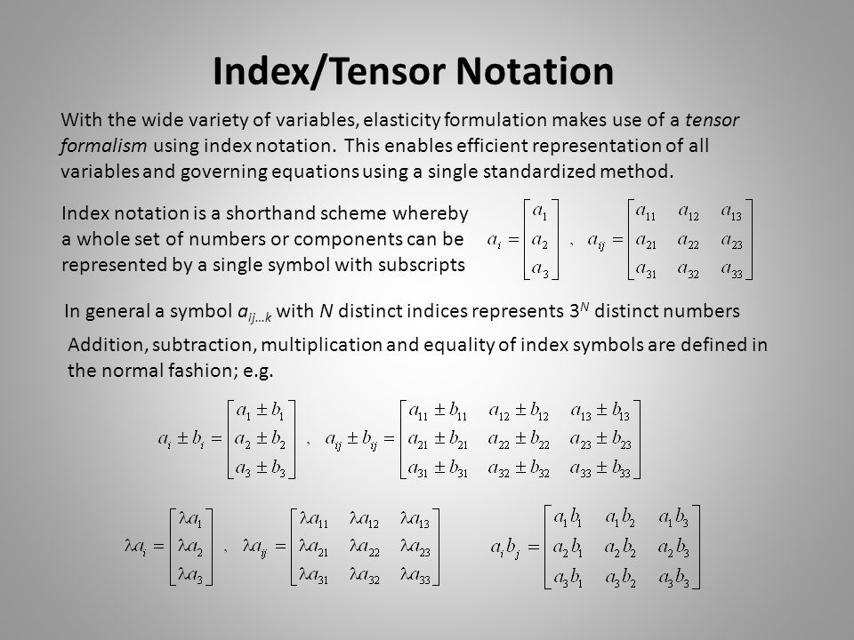Index/Tensor Notation