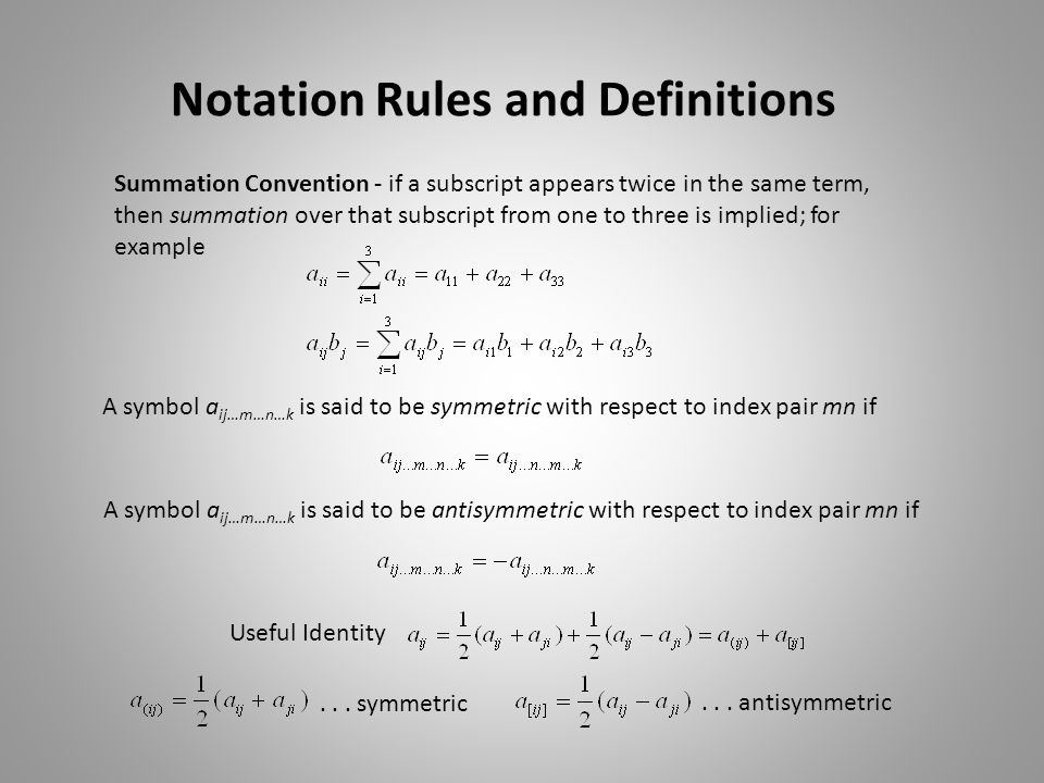 Notation Rules and Definitions