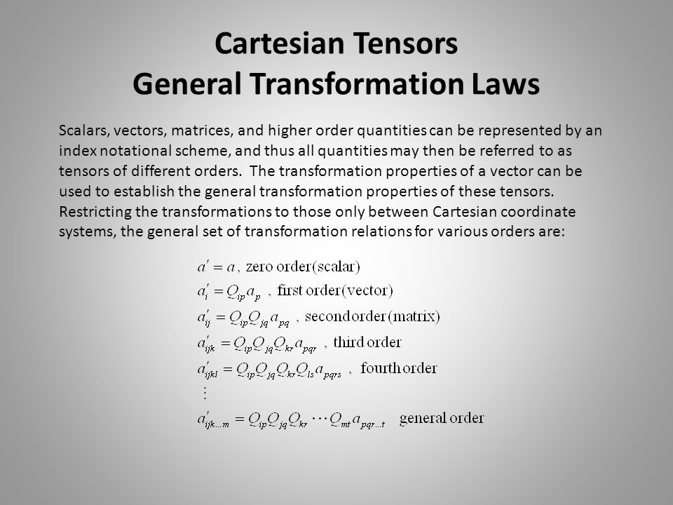 Cartesian Tensors General Transformation Laws
