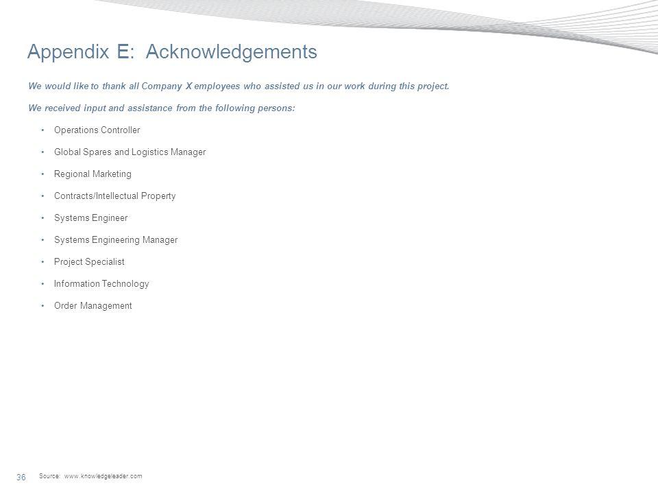 Appendix E: Acknowledgements