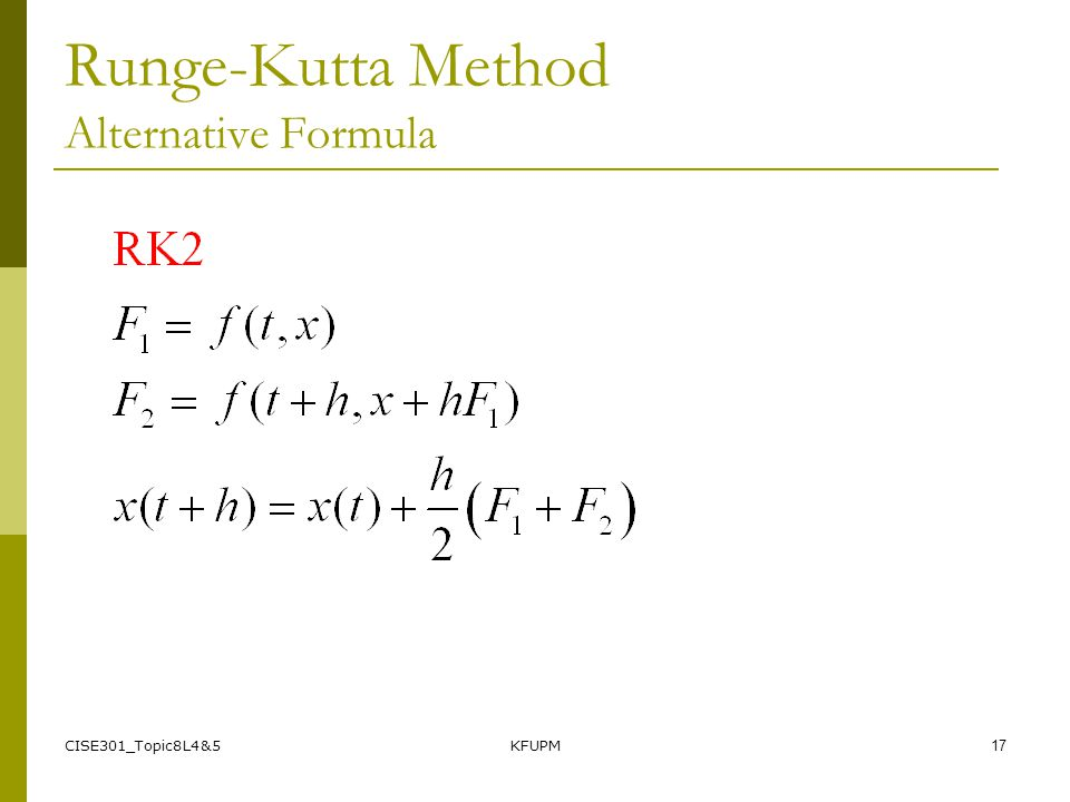 Runge-Kutta Method Alternative Formula